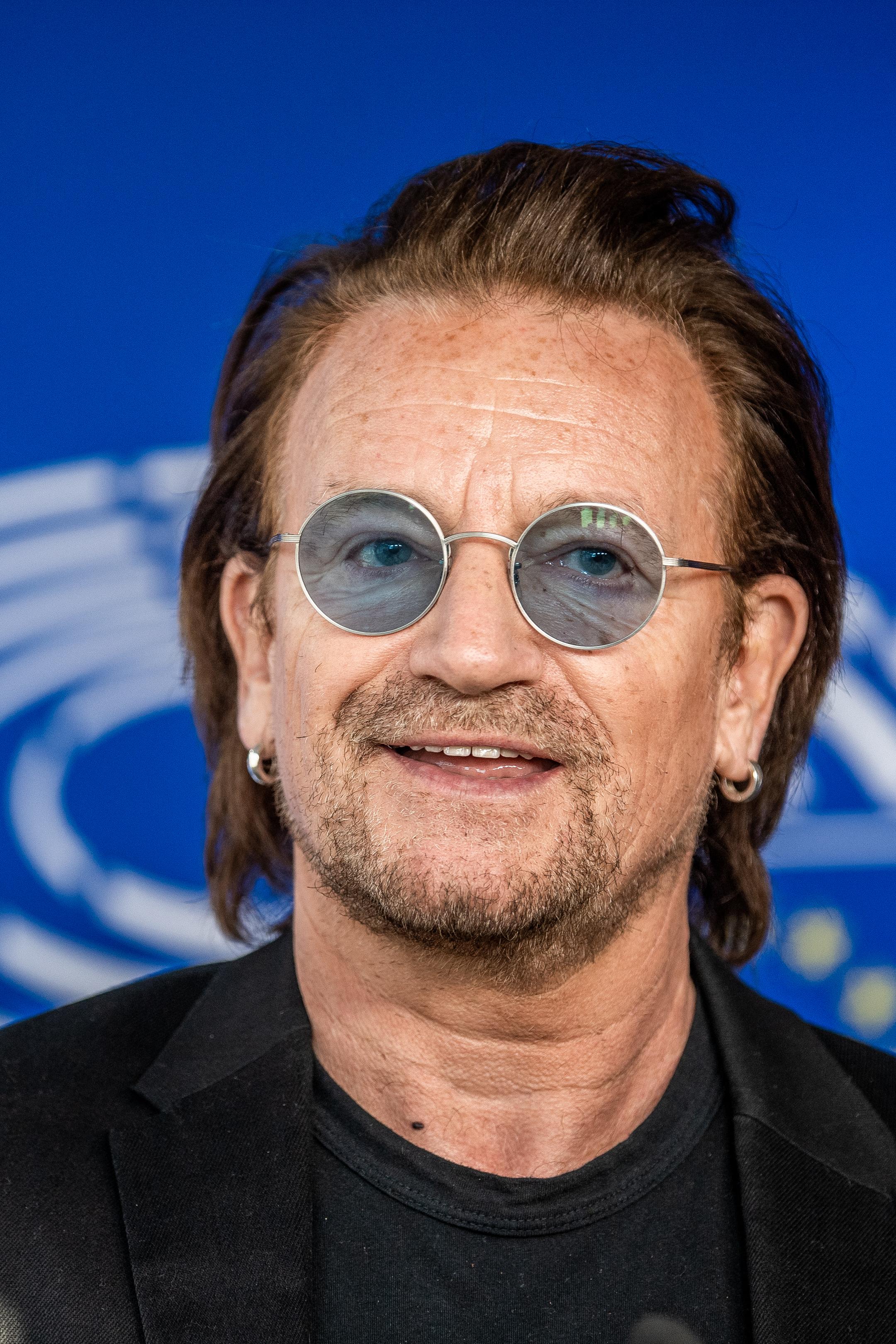 Brussels , 10/10/2018 Bono Of The Rock Band U2 Visits The European Parliament . Pix : Bono Credit : Mathieu Golinvaux / Isopix